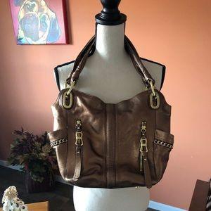 B MAKOWSKY copper leather shoulder bag